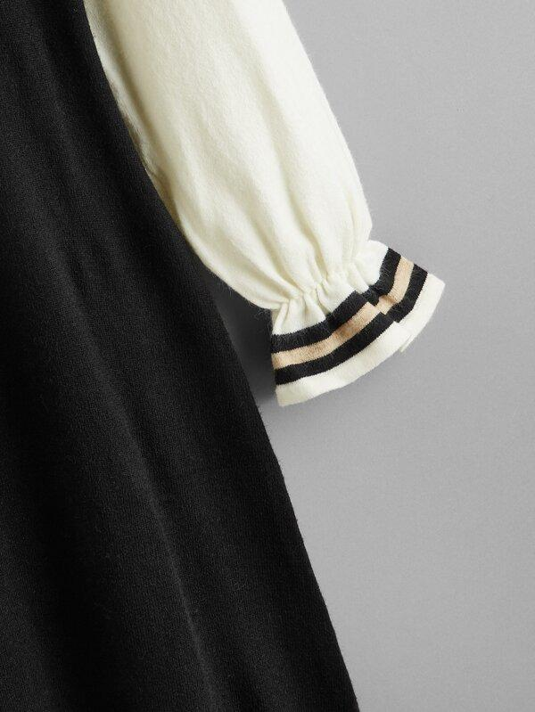 Striped Ruffle Cuff Contrast Sleeve Sweater Dress - INS | Online Fashion Free Shipping Clothing, Dresses, Tops, Shoes
