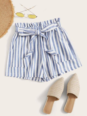 Striped Self-Tie Paperbag Shorts - INS | Online Fashion Free Shipping Clothing, Dresses, Tops, Shoes