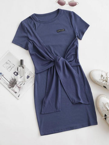 Such Cute Embroidered Tie Front Tee Dress - INS | Online Fashion Free Shipping Clothing, Dresses, Tops, Shoes
