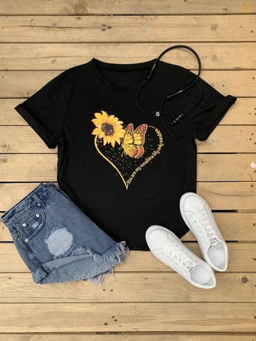 Sunflower & Butterfly Print Tee - INS | Online Fashion Free Shipping Clothing, Dresses, Tops, Shoes