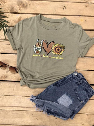 Sunflower & Letter Graphic Tee - INS | Online Fashion Free Shipping Clothing, Dresses, Tops, Shoes