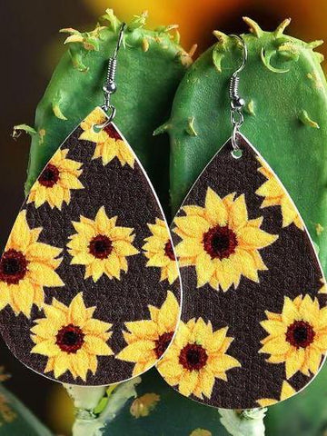 Sunflower Water Drop Shaped Leather Earrings - INS | Online Fashion Free Shipping Clothing, Dresses, Tops, Shoes