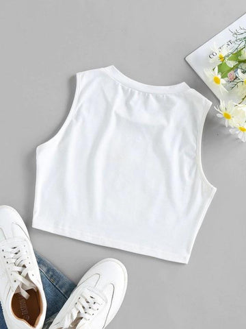 Sunflower Z Graphic Crop Tank Top - INS | Online Fashion Free Shipping Clothing, Dresses, Tops, Shoes