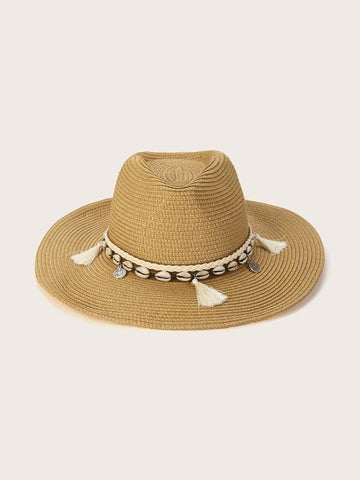 Tassel & Shell Decor Straw Hat - INS | Online Fashion Free Shipping Clothing, Dresses, Tops, Shoes