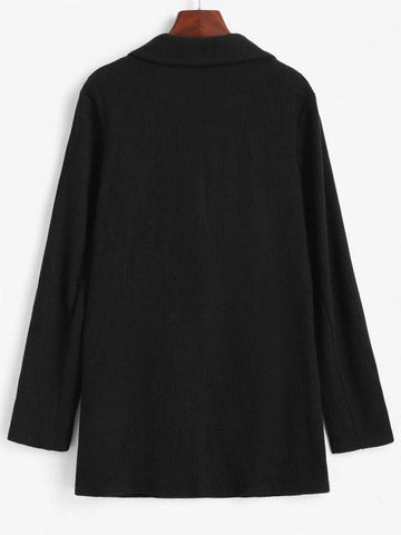 Textured Knit Flap Pocket Tunic Blazer - INS | Online Fashion Free Shipping Clothing, Dresses, Tops, Shoes