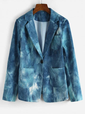 Tie Dye Corduroy Shoulder Pad Blazer - INS | Online Fashion Free Shipping Clothing, Dresses, Tops, Shoes