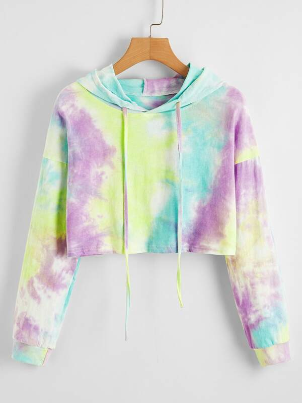 Tie Dye Drawstring Drop Shoulder Hoodie - INS | Online Fashion Free Shipping Clothing, Dresses, Tops, Shoes