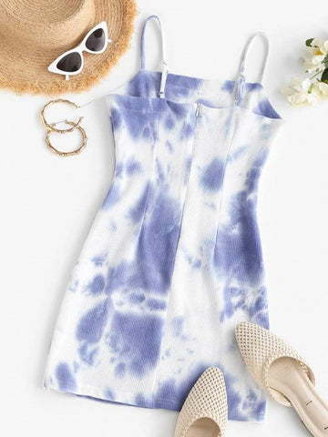 Tie Dye Knitted Mini A Line Dress - INS | Online Fashion Free Shipping Clothing, Dresses, Tops, Shoes