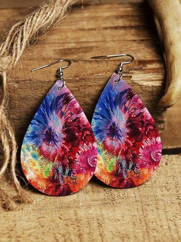 Tie Dye Leather Water Drop Earrings - INS | Online Fashion Free Shipping Clothing, Dresses, Tops, Shoes