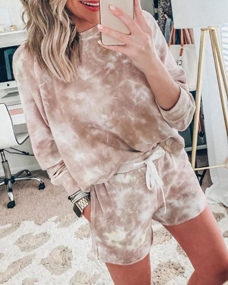 Tie Dye Print Casual Top & Drawstring Shorts Set - Sets - INS | Online Fashion Free Shipping Clothing, Dresses, Tops, Shoes - 02/18/2021 - 2 piece sets - Autumn