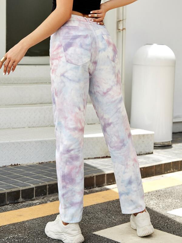 Tie Dye Slant Pocket Straight Leg Jeans - INS | Online Fashion Free Shipping Clothing, Dresses, Tops, Shoes