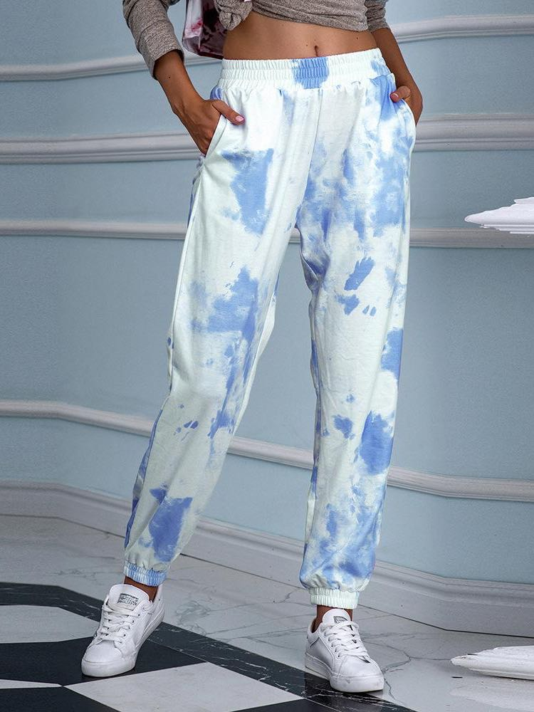 Tie-dyed print loose waist versatile casual pants - INS | Online Fashion Free Shipping Clothing, Dresses, Tops, Shoes