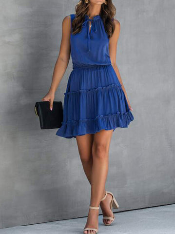 Tie Neck Frill Trim A-line Dress - INS | Online Fashion Free Shipping Clothing, Dresses, Tops, Shoes