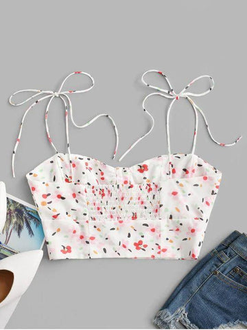 Tie Shoulder Button Up Ditsy Floral Cami Top - INS | Online Fashion Free Shipping Clothing, Dresses, Tops, Shoes