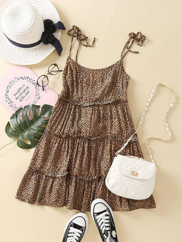 Tie Shoulder Frill Trim Leopard Cami Dress - INS | Online Fashion Free Shipping Clothing, Dresses, Tops, Shoes