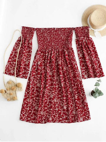 Tiny Floral Off Shoulder Smocked Dress - INS | Online Fashion Free Shipping Clothing, Dresses, Tops, Shoes