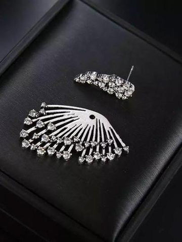 Trendy Rhinestones Silver Tassels Stud Earrings - INS | Online Fashion Free Shipping Clothing, Dresses, Tops, Shoes