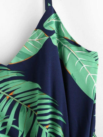 Tropical Palm Leaf Belt Cami Dress - INS | Online Fashion Free Shipping Clothing, Dresses, Tops, Shoes