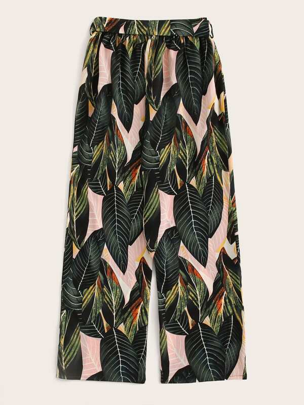 Tropical Print Self Tie Elastic Waist Pants - INS | Online Fashion Free Shipping Clothing, Dresses, Tops, Shoes