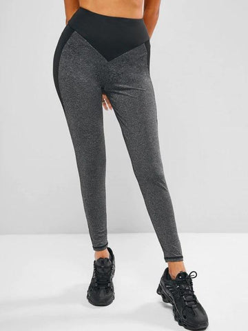 Two Tone Heathered Wide Waistband Gym Leggings - INS | Online Fashion Free Shipping Clothing, Dresses, Tops, Shoes