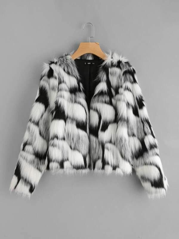 Two Tone Open Front Coat - INS | Online Fashion Free Shipping Clothing, Dresses, Tops, Shoes