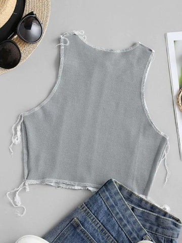 Two Tone Topstitch Ribbed Crop Tank Top - INS | Online Fashion Free Shipping Clothing, Dresses, Tops, Shoes