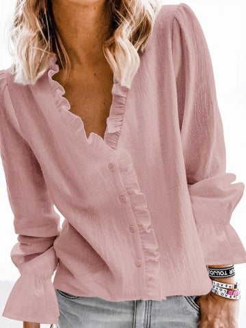 V neck Cotton Casual Bishop Sleeves Shirt - INS | Online Fashion Free Shipping Clothing, Dresses, Tops, Shoes