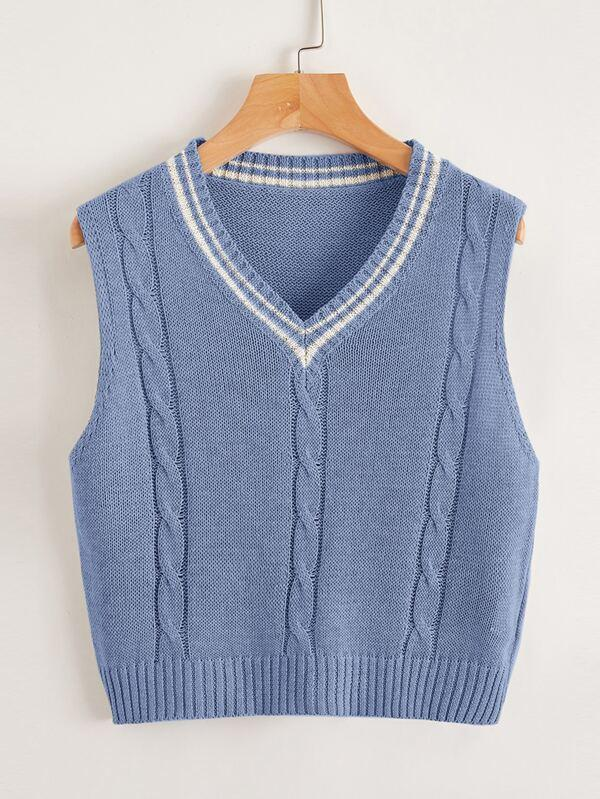 V Neck Striped Sweater Vest - INS | Online Fashion Free Shipping Clothing, Dresses, Tops, Shoes