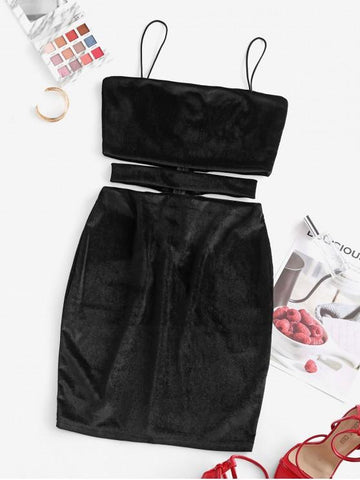 Velvet Cutout Mini Bodycon Dress - INS | Online Fashion Free Shipping Clothing, Dresses, Tops, Shoes