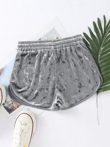 Velvet Drawstring Waist Dolphin Shorts - INS | Online Fashion Free Shipping Clothing, Dresses, Tops, Shoes
