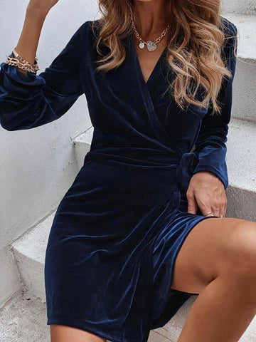 Velvet Knot Side Surplice Front Dress - INS | Online Fashion Free Shipping Clothing, Dresses, Tops, Shoes