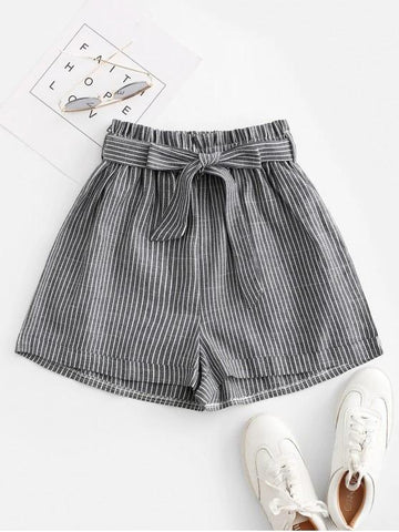Vertical Striped Cuffed Paperbag Shorts - INS | Online Fashion Free Shipping Clothing, Dresses, Tops, Shoes