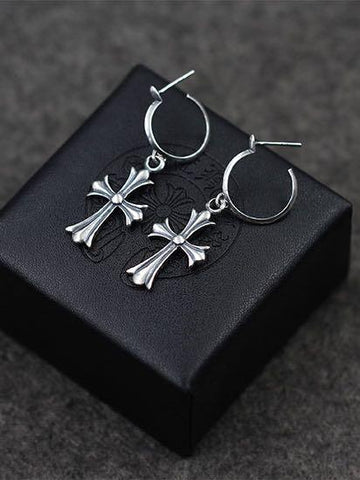 Vintage 925 Sterling Silver Cross Earrings - INS | Online Fashion Free Shipping Clothing, Dresses, Tops, Shoes