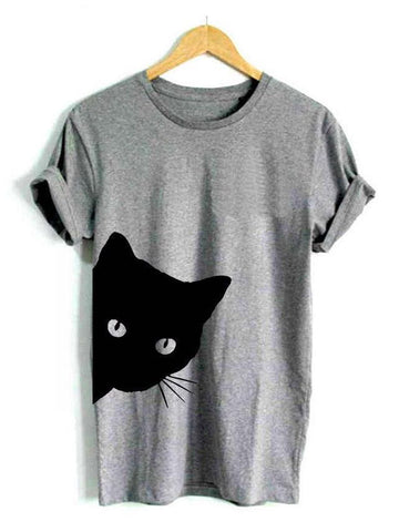 Vintage Cat Short-Sleeved Woman - INS | Online Fashion Free Shipping Clothing, Dresses, Tops, Shoes