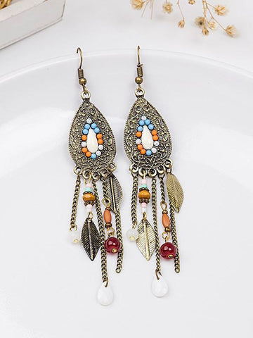 Vintage Leaf Bead Tassel Water-Drop Shaped Earrings - INS | Online Fashion Free Shipping Clothing, Dresses, Tops, Shoes