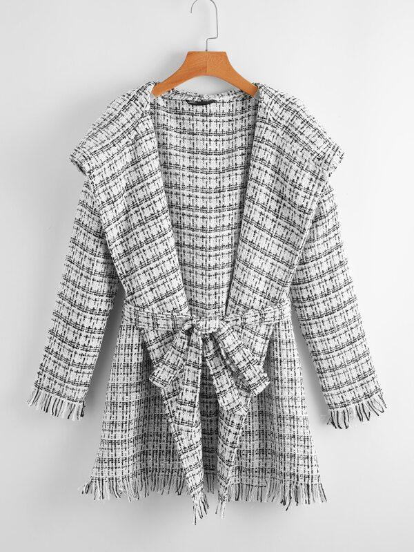 Waterfall Collar Self Belted Raw Trim Tweed Hooded Coat - INS | Online Fashion Free Shipping Clothing, Dresses, Tops, Shoes