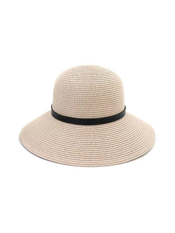 Wide Brim Straw Hat With Leather Detail - INS | Online Fashion Free Shipping Clothing, Dresses, Tops, Shoes