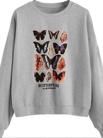 Women Butterfly Print Round Neck Shirt - INS | Online Fashion Free Shipping Clothing, Dresses, Tops, Shoes