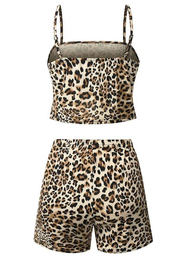 Women Leopard Print Two Pieces Suit