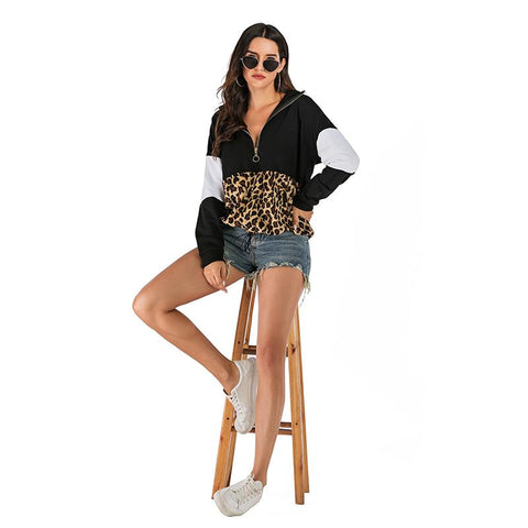 Women Leopard Printed Hooded Pullover - INS | Online Fashion Free Shipping Clothing, Dresses, Tops, Shoes