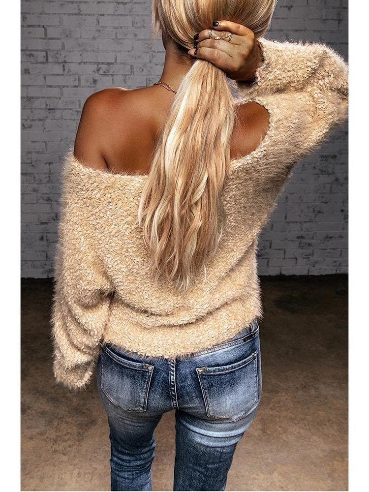 Women off-shoulder plush knit sweater - INS | Online Fashion Free Shipping Clothing, Dresses, Tops, Shoes