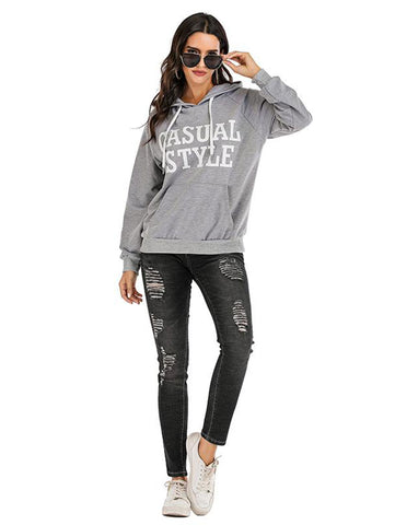 Women Printed Hooded Sweatshirt - INS | Online Fashion Free Shipping Clothing, Dresses, Tops, Shoes