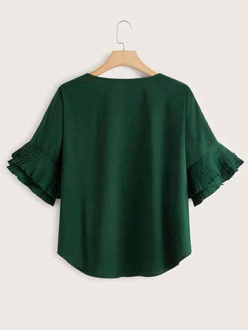 Women Round Collar Pleated Sleeves Top - INS | Online Fashion Free Shipping Clothing, Dresses, Tops, Shoes