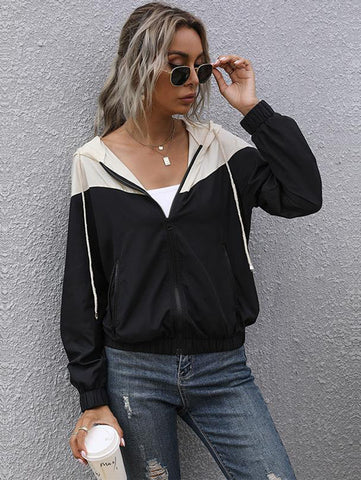 Women Splicing Hooded Jacket - INS | Online Fashion Free Shipping Clothing, Dresses, Tops, Shoes