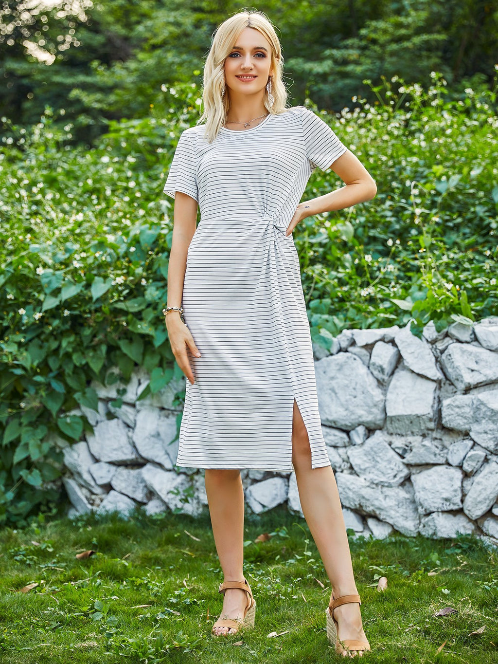 Women Stripe Slit dress - INS | Online Fashion Free Shipping Clothing, Dresses, Tops, Shoes