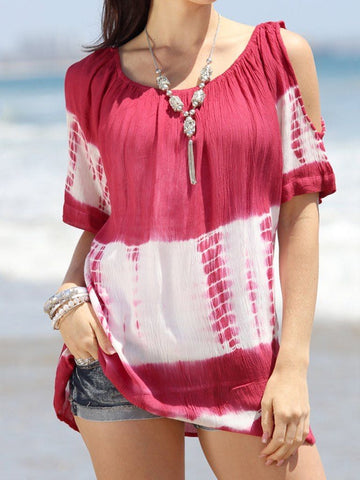 Women Tie-dye Off shoulder Loose Top - INS | Online Fashion Free Shipping Clothing, Dresses, Tops, Shoes