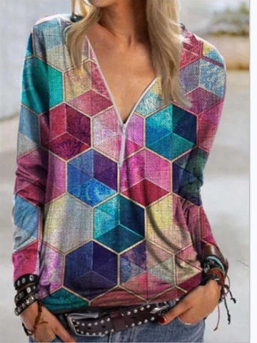 Women V-neck Cube Print Top - INS | Online Fashion Free Shipping Clothing, Dresses, Tops, Shoes