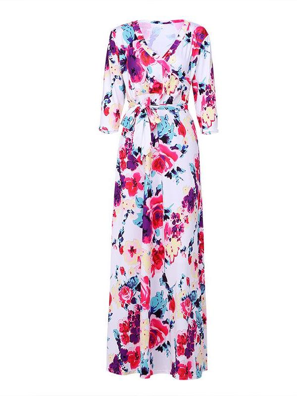 Women V-neck Print Maxi Dress - INS | Online Fashion Free Shipping Clothing, Dresses, Tops, Shoes