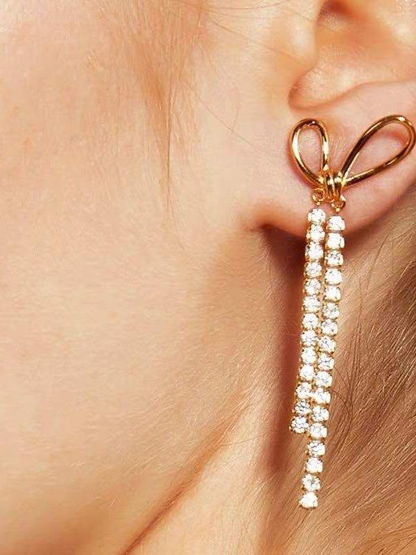 Women's bow knot tassel earrings - INS | Online Fashion Free Shipping Clothing, Dresses, Tops, Shoes