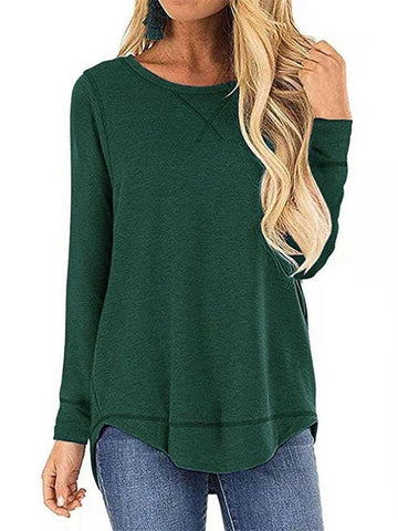 Women's Casual Pure Color Loose T-shirt - INS | Online Fashion Free Shipping Clothing, Dresses, Tops, Shoes